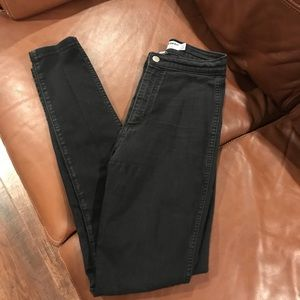 High Waisted Stretchy Material Black Jeans